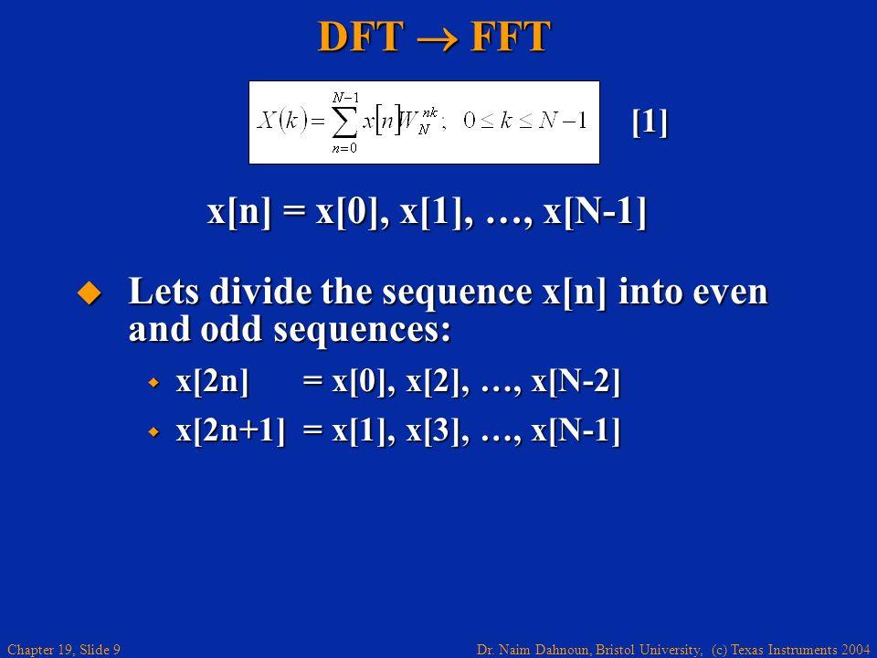DFT  FFT x[n] = x[0], x[1], …, x[N-1]